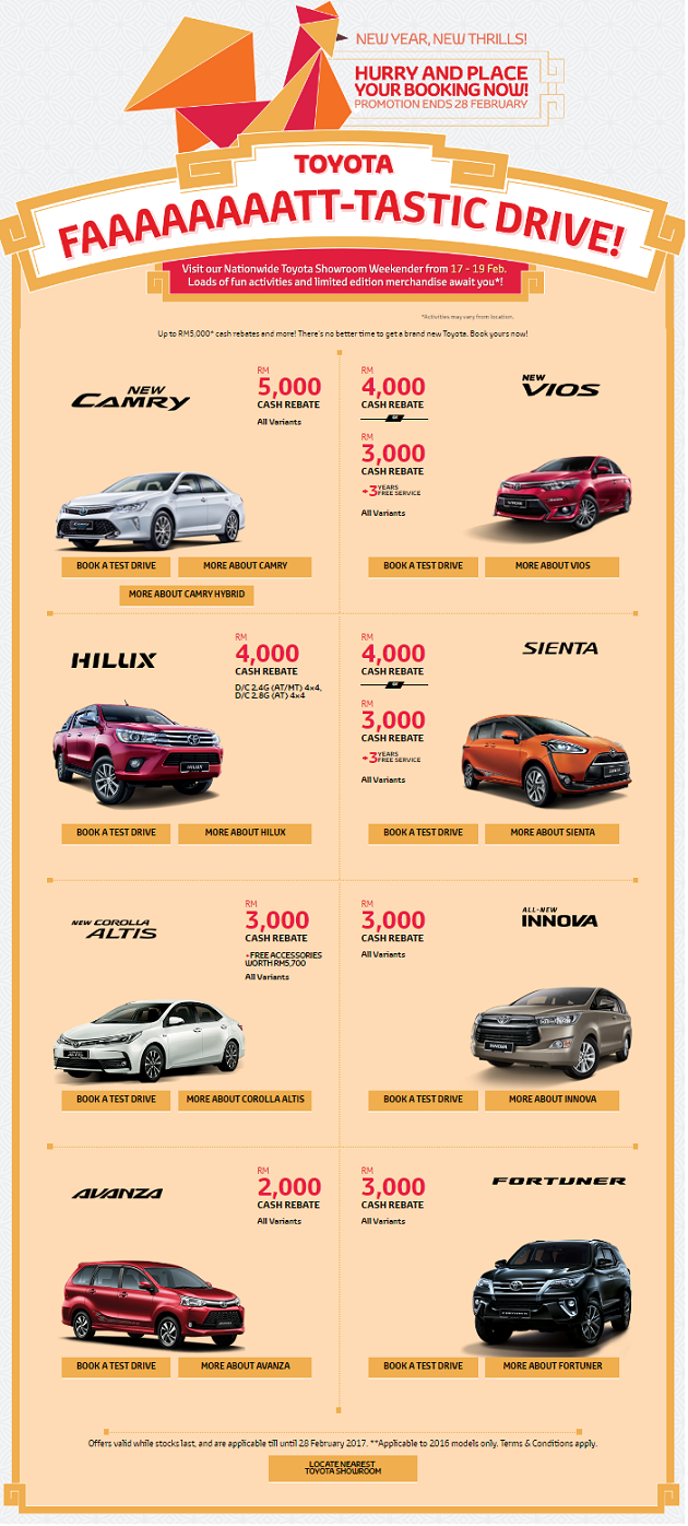 Toyota Rebate Promotion February 2017